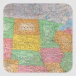 Mapa 3 de Estados Unidos Pegatina Cuadrada