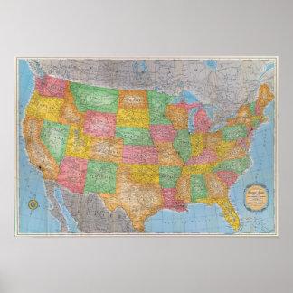 Mapa 3 de Estados Unidos Póster