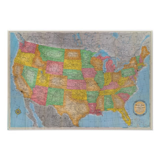 Mapa 3 de Estados Unidos Posters