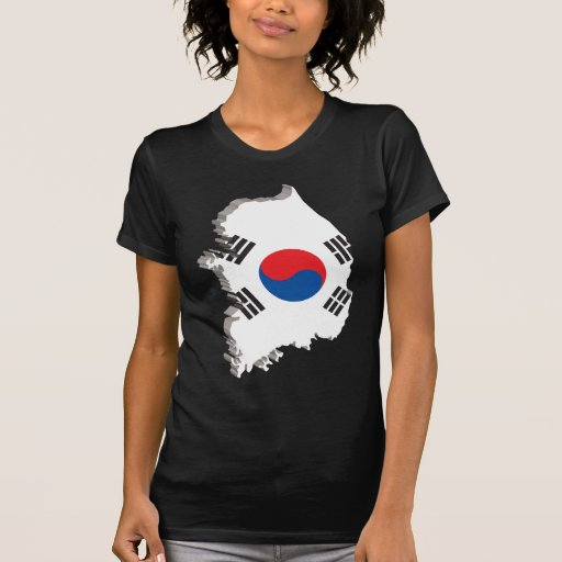 mapa 3D de la Corea del Sur T-shirt