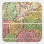 Mapa 4 de Estados Unidos Pegatina Cuadrada