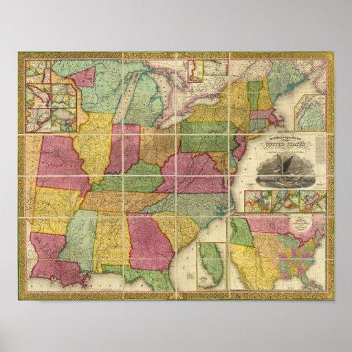Mapa 4 de Estados Unidos Poster