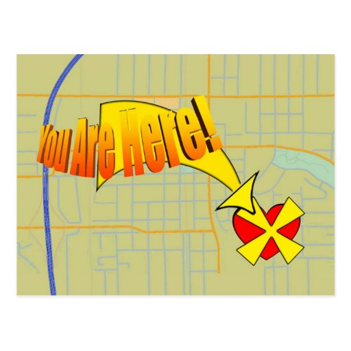 Mapa a mi corazón. ¡Usted está aquí! Tarjeta Postal