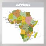 Mapa a todo color de África Póster