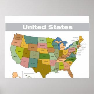 Mapa a todo color de los Estados Unidos Póster
