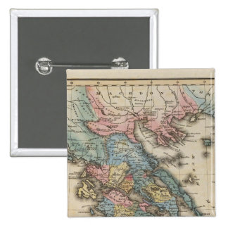 Mapa a todo color del atlas de Grecia Pin Cuadrada 5 Cm