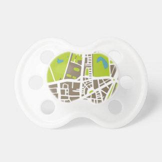 Mapa abstracto de la ciudad para el trotamundos chupetes para bebés