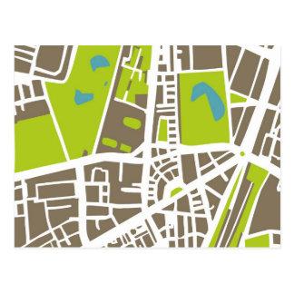 Mapa abstracto de la ciudad para el trotamundos postal
