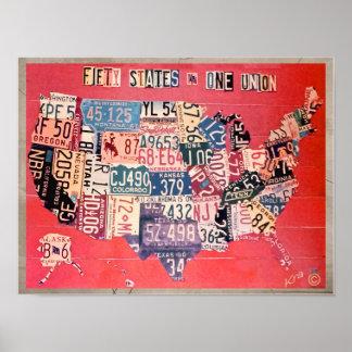 Mapa abstracto de los cincuenta estados - una póster