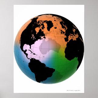 Mapa actual del norte de Océano Atlántico Poster
