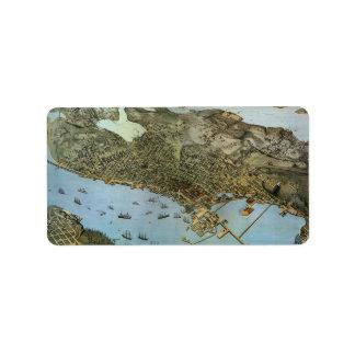 Mapa aéreo antiguo del vintage de Seattle, Washing Etiqueta De Dirección
