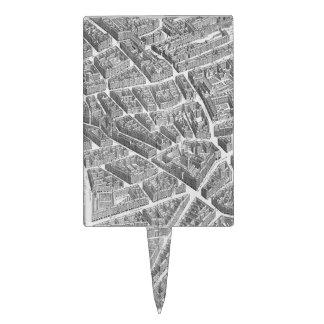 Mapa aéreo de París del vintage Decoración Para Tarta
