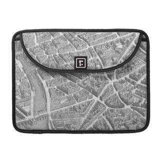 Mapa aéreo de París del vintage Fundas Para Macbooks