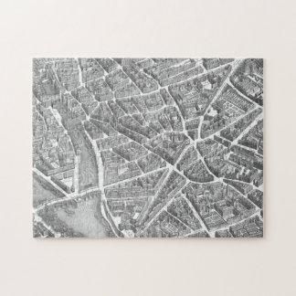 Mapa aéreo de París del vintage Rompecabezas