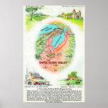 Mapa aéreo del condado de Santa Clara con los siti Poster