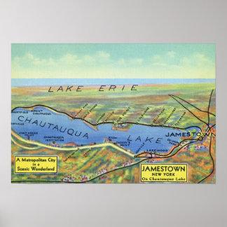 Mapa aéreo del lago y de ciudades circundantes poster