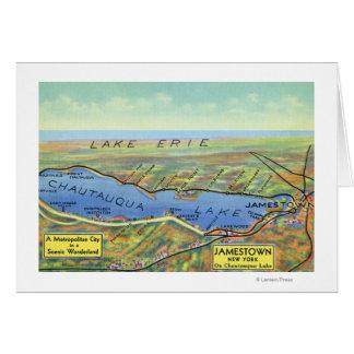 Mapa aéreo del lago y de ciudades circundantes tarjeta de felicitación
