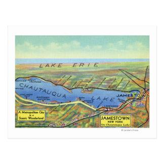 Mapa aéreo del lago y de ciudades circundantes tarjeta postal