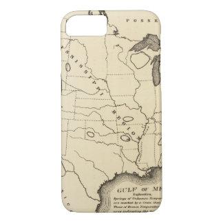 Mapa, aguas termales, Estados Unidos Funda iPhone 7