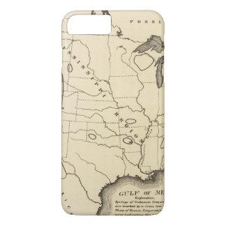 Mapa, aguas termales, Estados Unidos Funda iPhone 7 Plus