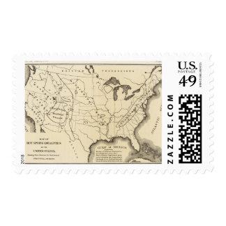 Mapa, aguas termales, Estados Unidos Timbres Postales