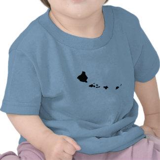 Mapa al revés de Hawaii Camisetas