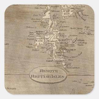Mapa alejado de las islas británicas por pegatina cuadrada