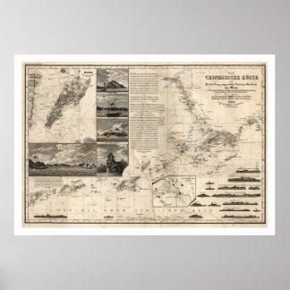 Mapa alemán de China con Guangdong y Macao 1834 Posters