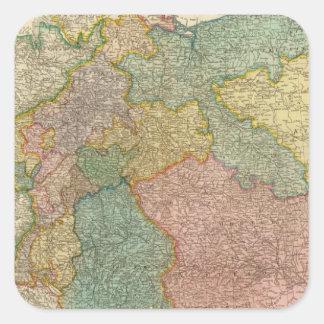 Mapa alemán del atlas del imperio colcomanias cuadradas personalizadas