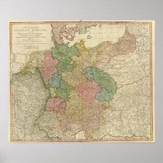 Mapa alemán del imperio poster