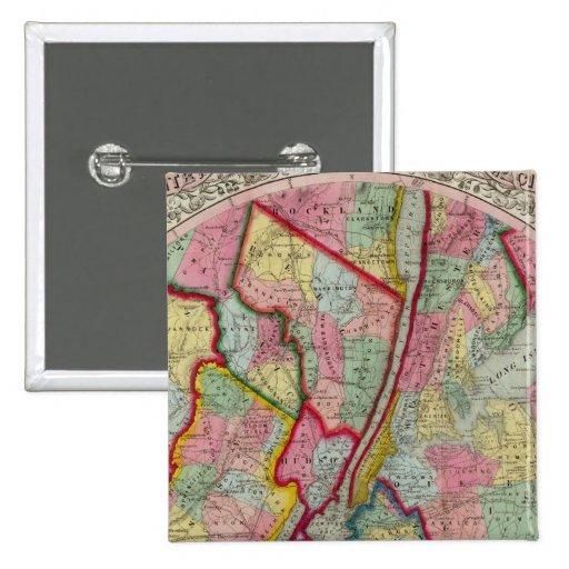 Mapa alrededor de la ciudad de Nueva York Pin Cuadrada 5 Cm