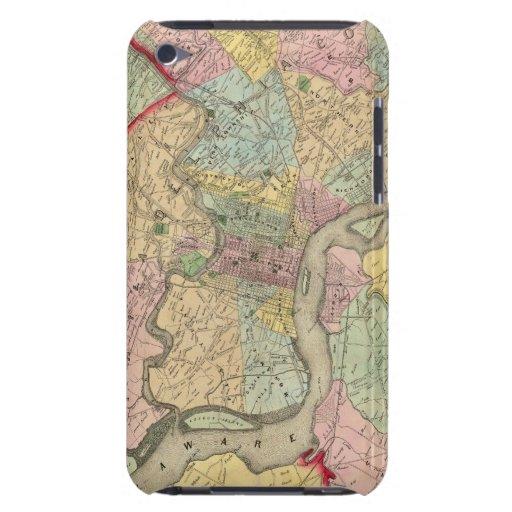 Mapa alrededor de la ciudad de Philadelphia Cubierta Para iPod De Barely There