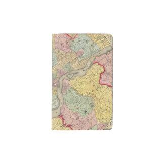 Mapa alrededor de la ciudad de Philadelphia Funda Para Libreta Y Libreta Pequeña Moleskine