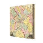 Mapa alrededor de la ciudad de Philadelphia Impresiones En Lona