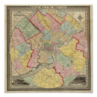 Mapa alrededor de la ciudad de Philadelphia Poster