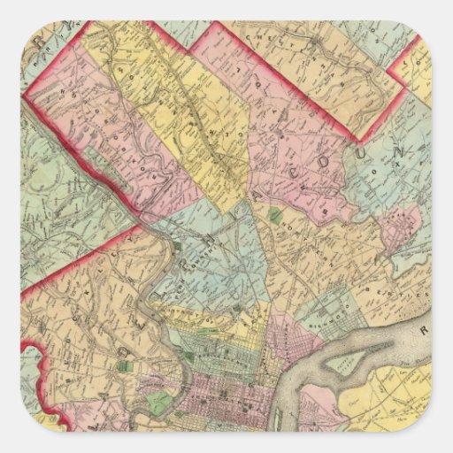 Mapa alrededor de la ciudad de Philadelphia Pegatina Cuadradas Personalizadas