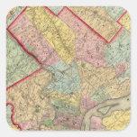 Mapa alrededor de la ciudad de Philadelphia Pegatina Cuadrada
