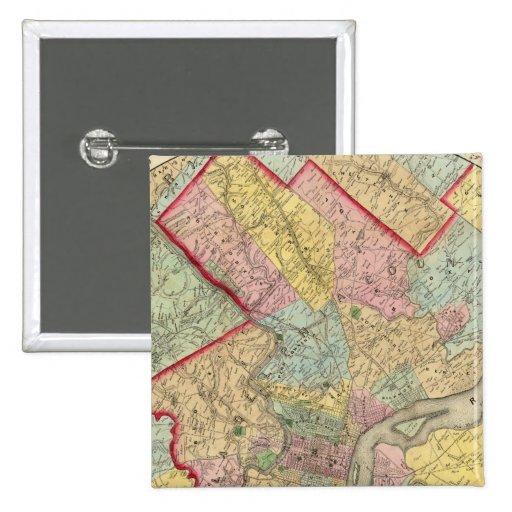 Mapa alrededor de la ciudad de Philadelphia Pin Cuadrada 5 Cm