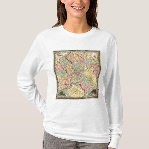 Mapa alrededor de la ciudad de Philadelphia Playera