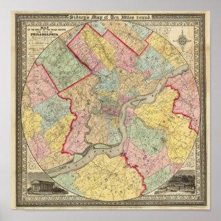 Mapa alrededor de la ciudad de Philadelphia Póster