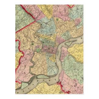 Mapa alrededor de la ciudad de Philadelphia Tarjetas Postales