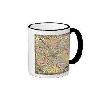 Mapa alrededor de la ciudad de Philadelphia Tazas De Café