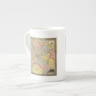 Mapa alrededor de la ciudad de Philadelphia Taza De Porcelana