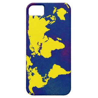 mapa amarillo del mundo iPhone 5 carcasas