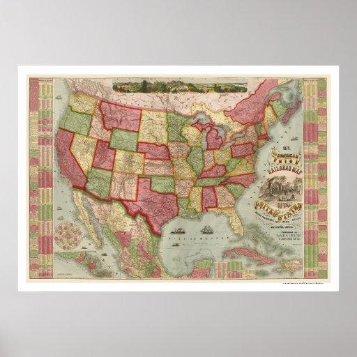 Mapa americano 1872 del ferrocarril de la unión póster