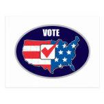 Mapa americano de la elección del voto de los E.E. Postales