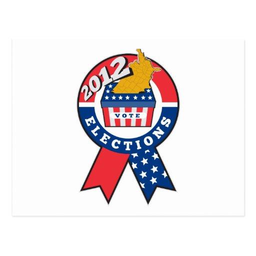 Mapa americano de la urna de la elección de la cin postal
