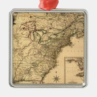 Mapa americano de las colonias del vintage 1777 adorno navideño cuadrado de metal