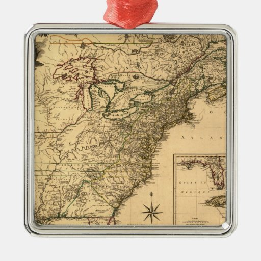 Mapa americano de las colonias del vintage 1777 adorno