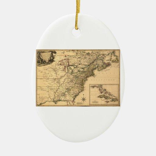 Mapa americano de las colonias del vintage 1777 ornamento de navidad